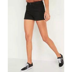 Old Navy Black Denim High Waist Cuffed Jean Shorts